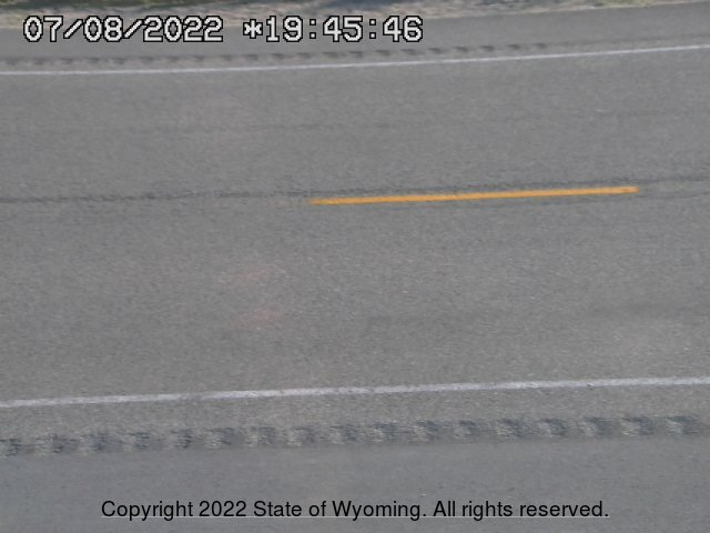 WYDOT Web Cam on US 191 at the Rim between Daniel and Bondurant  - view of road surface